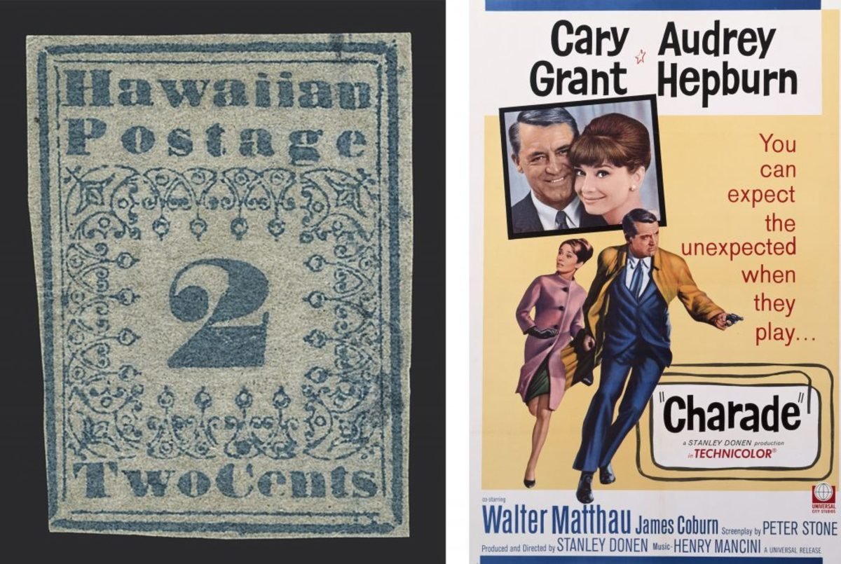 Blue Hawaiian missionary stamp (courtesy of Siegel Auction Gallery); Stanley Donen's 1963 comedy Charade, starring Cary Grant and Audrey Hepburn. (Credit: Movie Poster Image Art/Getty Images)