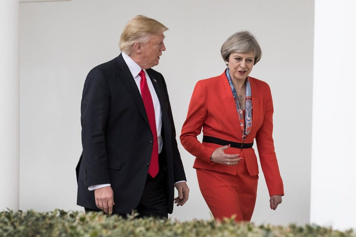 British Prime Minister Theresa May and U.S. President Donald Trump walk along the colonnade of the West Wing at The White House on January 27, 2017 in Washington, D.C. British Prime Minister Theresa May was the first world leader to meet with Trump. (Photo by Christopher Furlong/Getty Images)