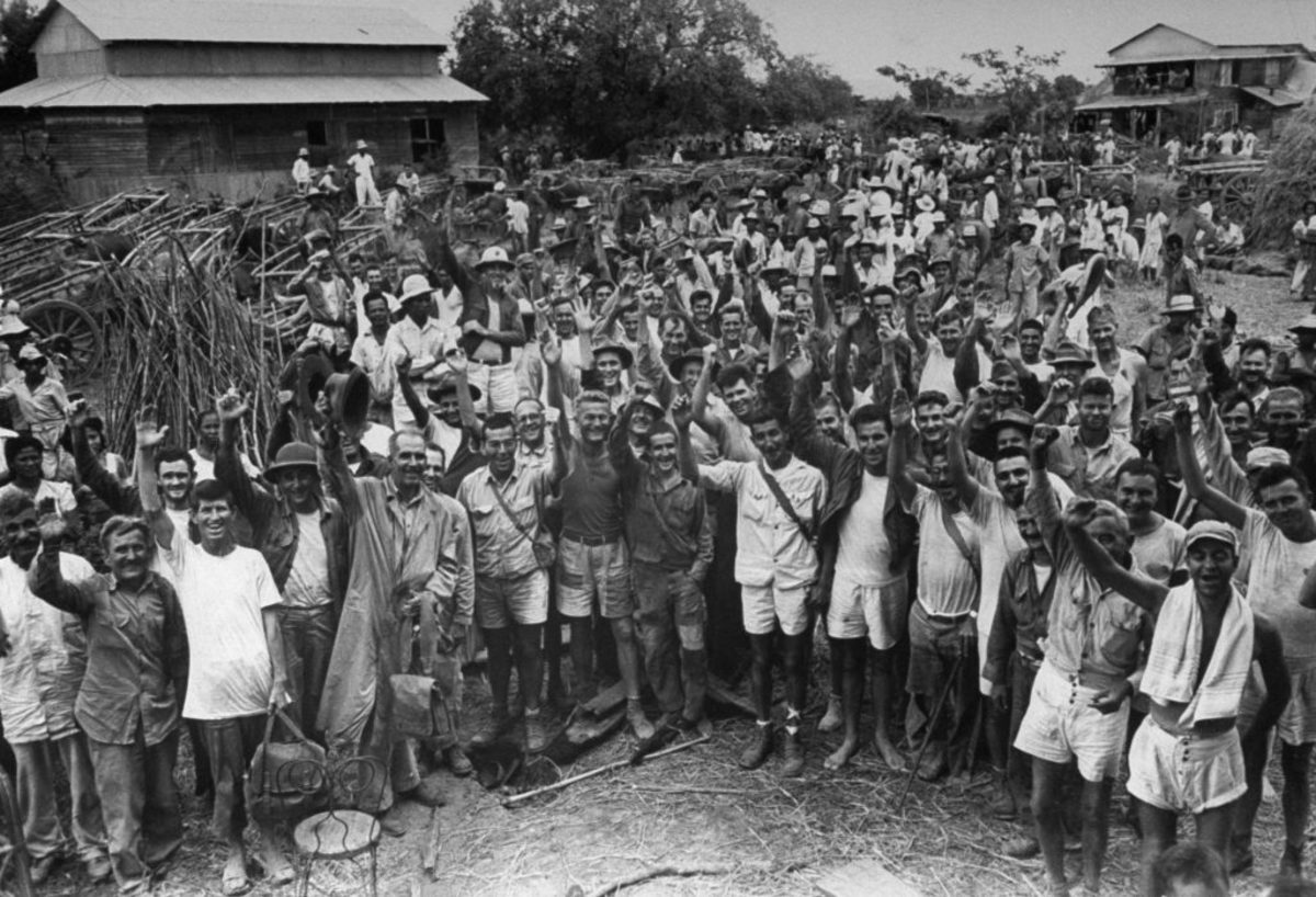 Allied survivors of the infamous Bataan Death March who were freed from Cabanatuan prison camp by a squad of U.S. Rangers and Filipino guerrillas. (Photo by Carl Mydans/The LIFE Picture Collection/Getty Images)