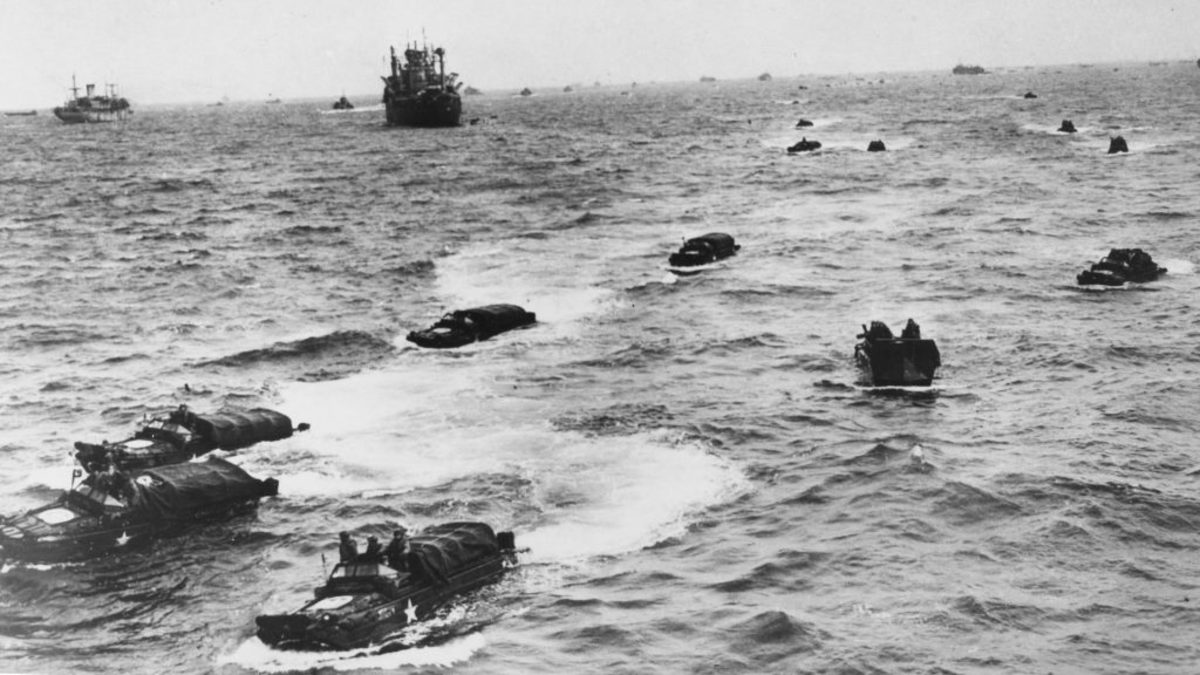 American DUKW's in the water heading for the Normandy beaches during the first landings of the D-Day invasion. (Credit: Popperfoto/Getty Images)