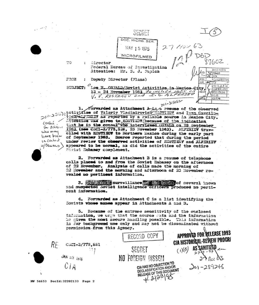 A handout image of a FBI report about Lee Harvey Oswald in Mexico City released by the National Archives as part of nearly 3,000 previously sealed or redacted documents related to the 1963 assassination of US President John F. Kennedy. (Credit: National Archives Handout/EPA-EFE/REX/Shutterstock)