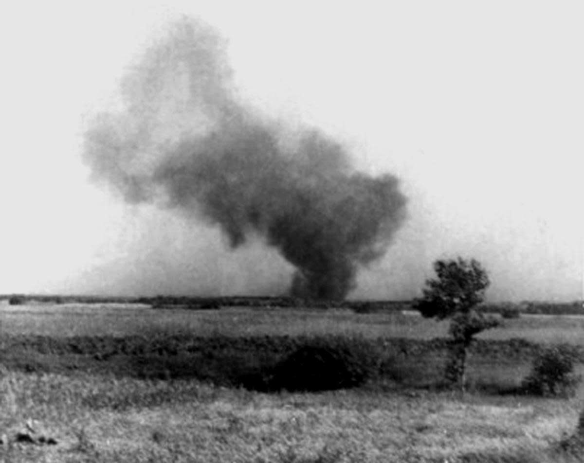 Smoke from the Treblinka uprising, as seen from a railroad worker. (Credit: UtCon Collection/Alamy)