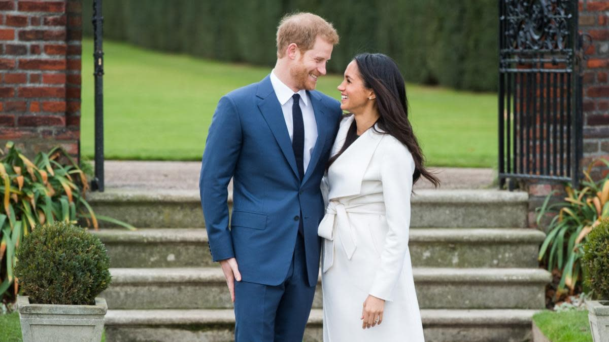 Prince Harry and actress Meghan Markle during an announcement of their engagement. (Credit: Samir Hussein/WireImage/Getty Images)