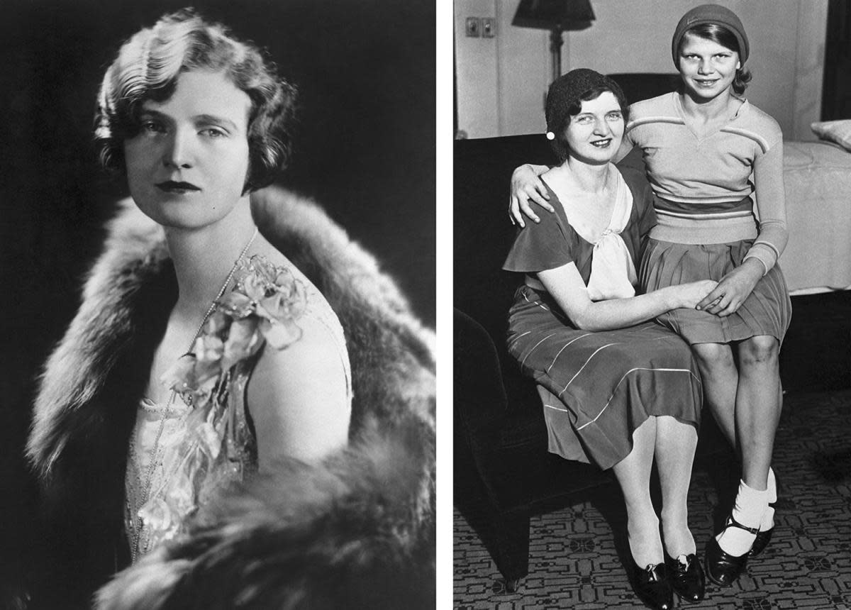 "Nan Britton, the woman who had an affair with President Warren G. Harding and publisher of the book ""The President's Daughter,"" shown with her daughter on the right."