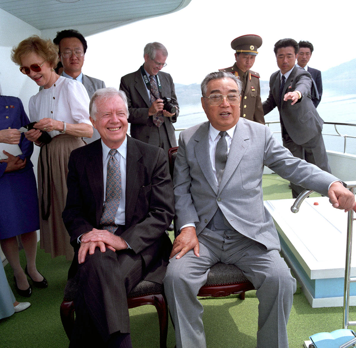 Former North Korea President Kim Il Sung sitting alongside former U.S. President Jimmy Carter in June 1994, just weeks before Kim's death. (Credit: Korean Central News Agency/AP Photo)
