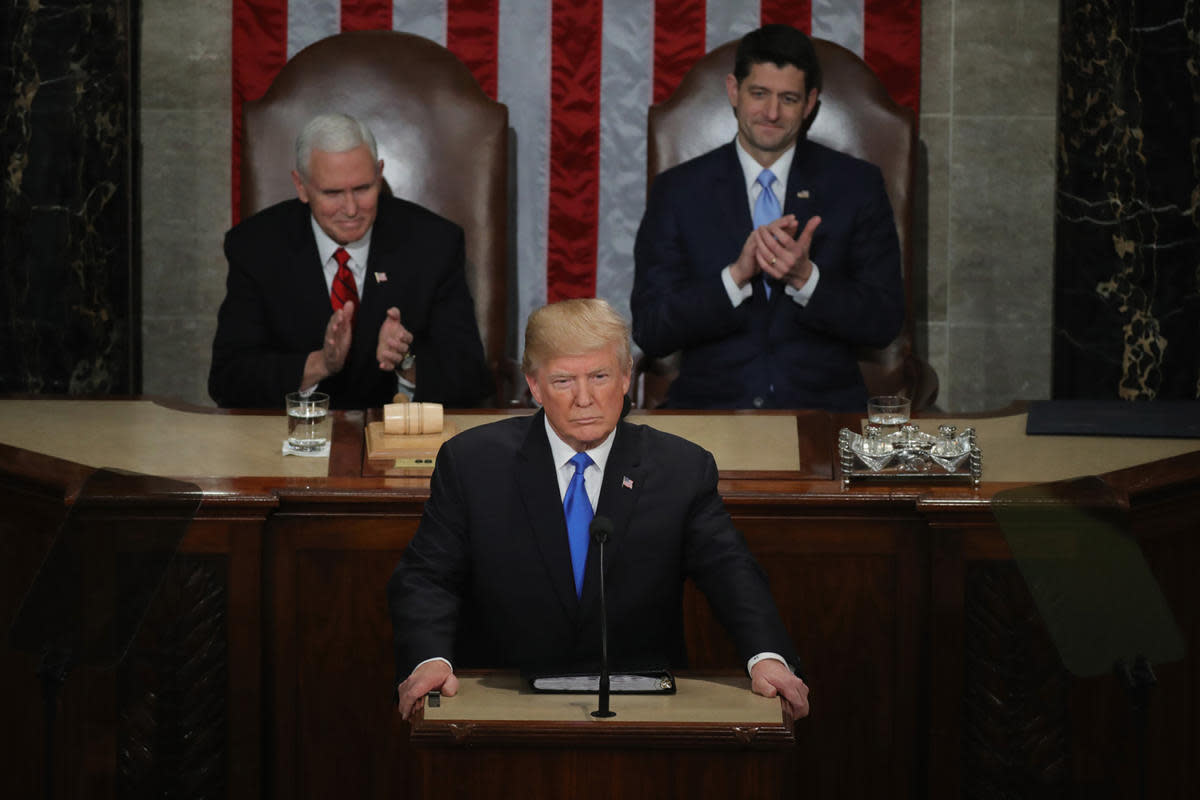 President Donald J. Trump delivering his first State of the Union address, January 30, 2018 in Washington, DC.