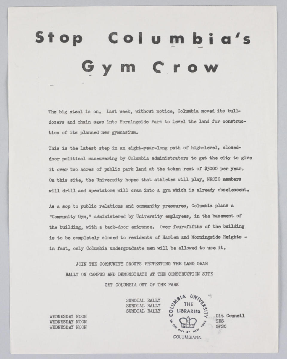 Flyer passed out for protesting Columbia's plans to build a gymnasium in Morningside Park. (Courtesy of the Columbia University Archives)