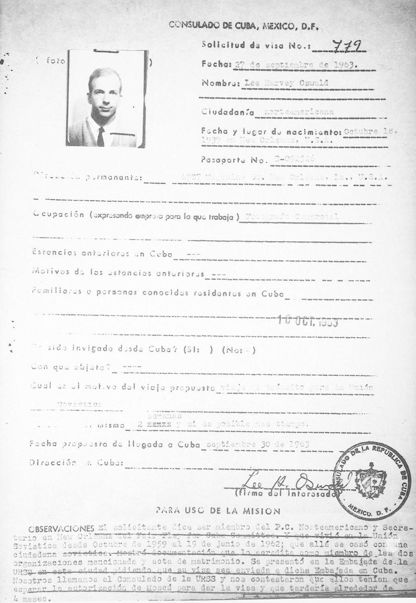 This is a copy of Lee Harvey Oswald's visa application, released by the Cuban government in 1978. (Credit: Charles Tasnadi/AP Photo)