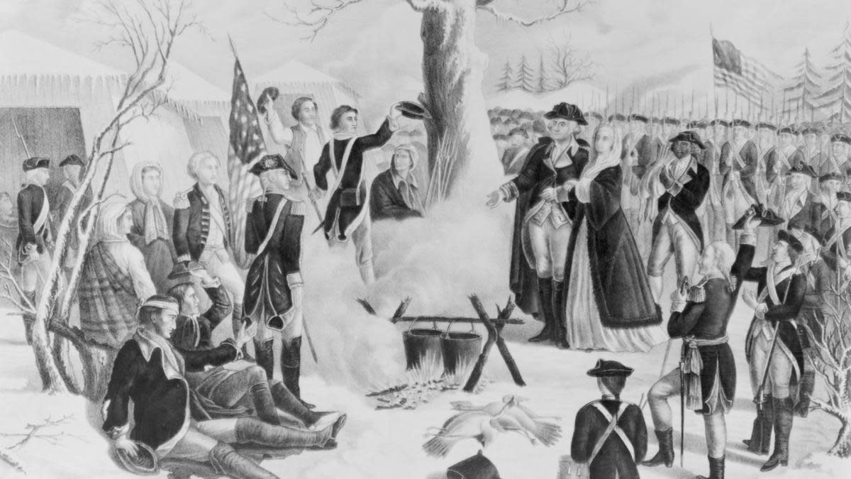 General Washington and his wife visiting camp at Valley Forge on Christmas Day, 1779. (Credit: Bettmann Archive/Getty Images)