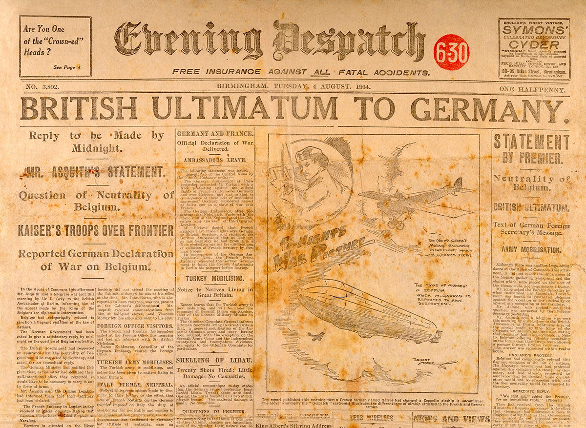 The front page of the Birmingham Evening Despatch on August 4th 1914 when Great Britain declared war on Germany. Britain, led by Prime Minister Herbert Asquith, had given Germany an ultimatum to get out of Belgium. (Credit: Popperfoto/Getty Images)