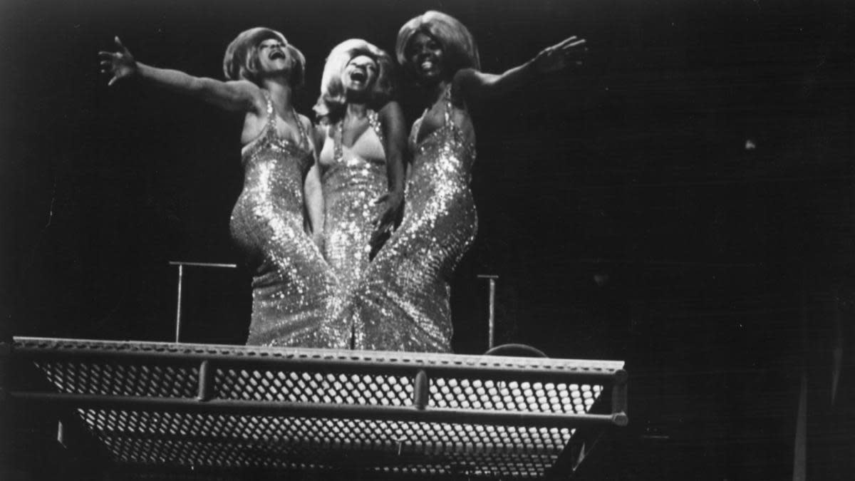 Emmaretta Marks, Melba Moore and Lorri Davis singing in a scene from the American rock musical 'Hair' at the Biltmore Theatre.