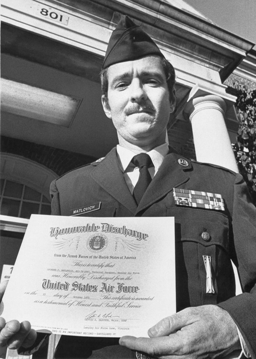United State Air Force Sergeant Leonard Matlovich holds his Honorable Discharge papers at Langley Air Force Base in Virginia. Even after significant legal battles, Sgt. Matlovich was discharged from the service because he was gay.