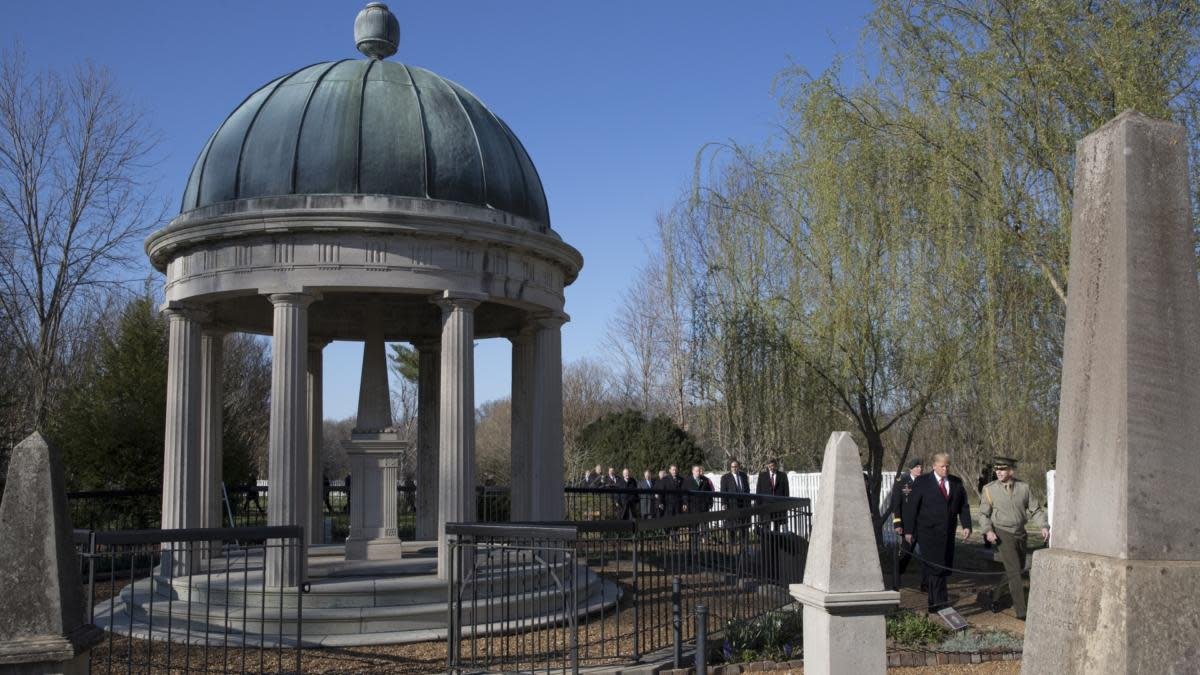Andrew Jackson's grave, seen prior to the vandalism during a visit from President Donald Trump to the Hermitage, in Nashville, Tennessee, March 15, 2017. (Credit: Stephen Crowley/The New York Times/Redux)