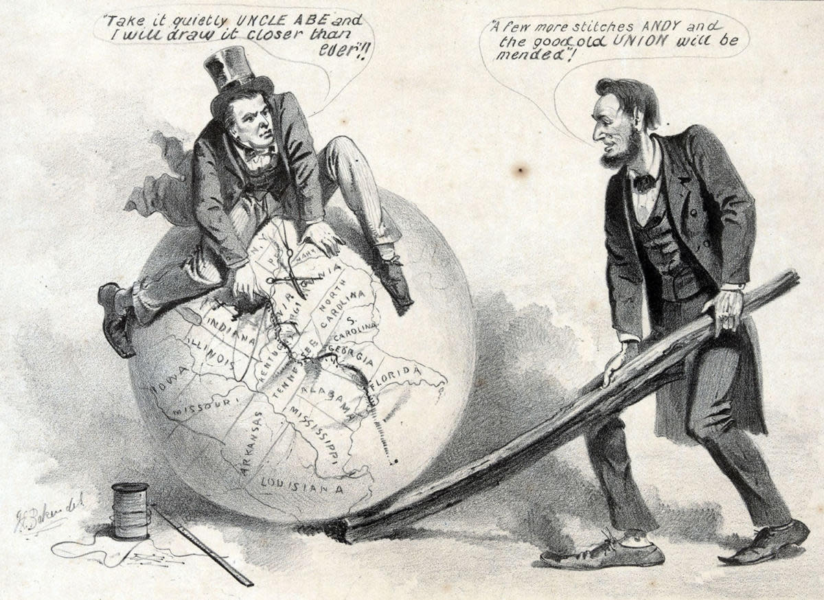 A political cartoon showing Vice President Andrew Johnson sitting atop a globe, attempting to stitch together the map of the United States with needle and thread. (Credit: Universal History Archive/UIG via Getty images)