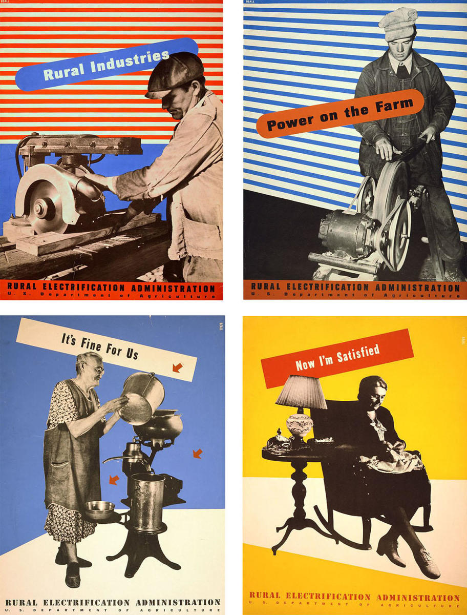 Lester Beall posters commissioned by the U.S. Department of Agriculture for the Rural Electriciation Administration. (Credit: The Library of Congress)
