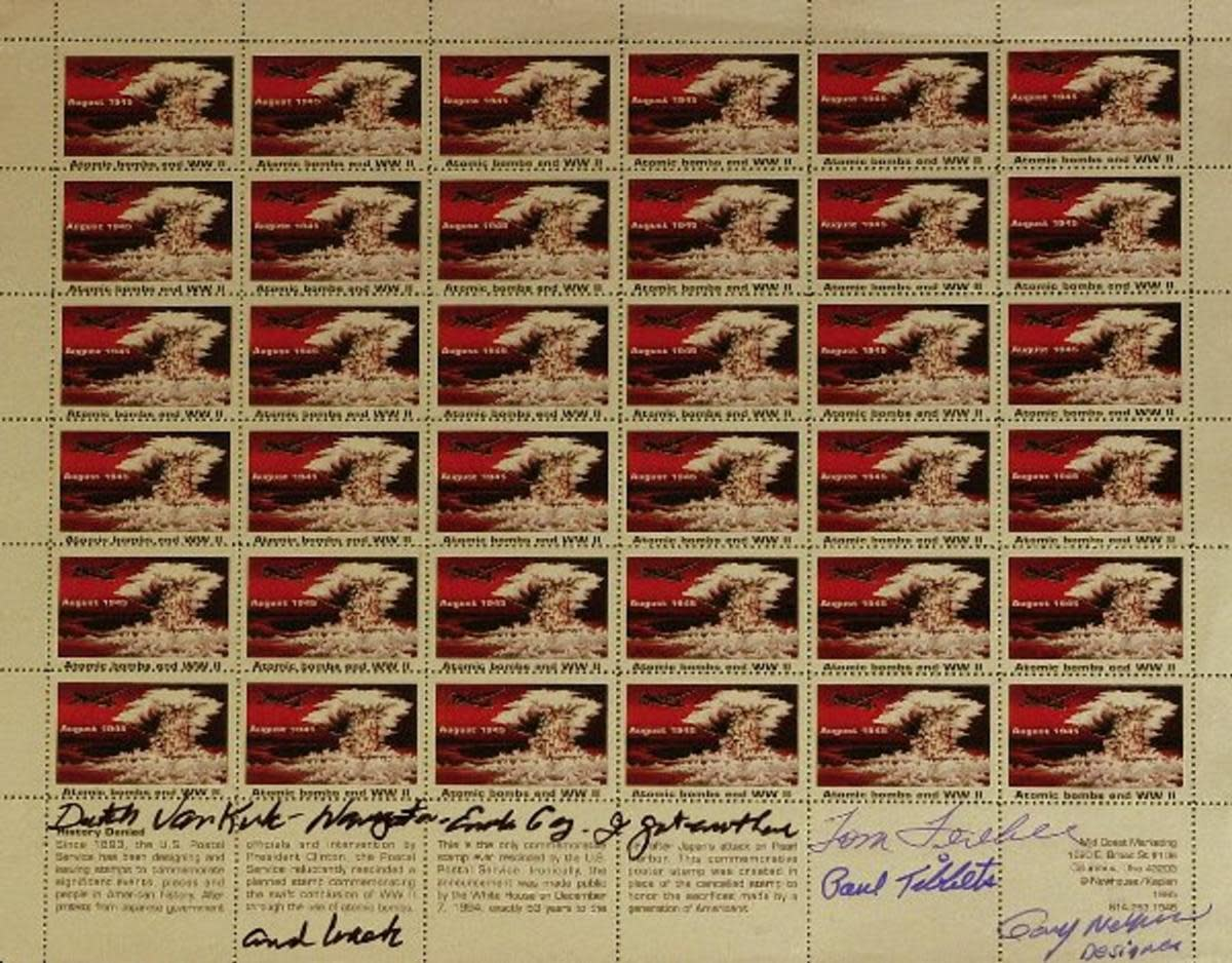 The withdrawn 1995 atomic bomb stamp also inspired imitations, such as this one, signed by stamp designer Gary Newhouse and the Enola Gay crew. (Image courtesy of LiveAuctioneers.com Archive and The Written Word Autographs)