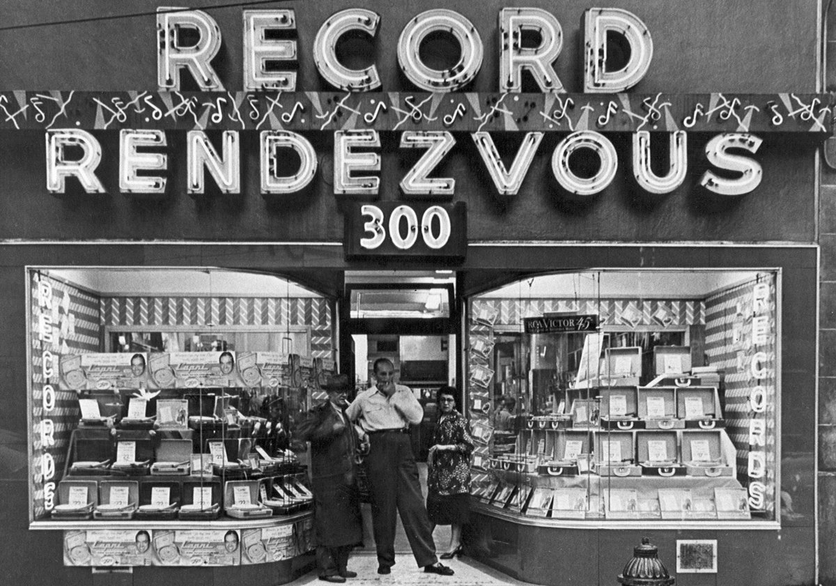 "Record Rendezvous in Cleveland, Ohio specialized in selling ""race music,"" which was early rock and roll."