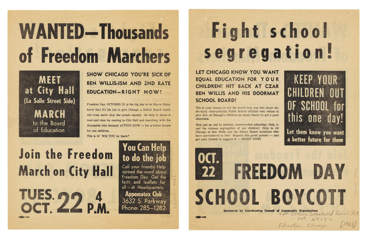Flyer advertising Freedom Day School Boycott, an event to protest school segregation in Chicago, Illinois, 1963. (Credit: Chicago History Museum/Getty Images)