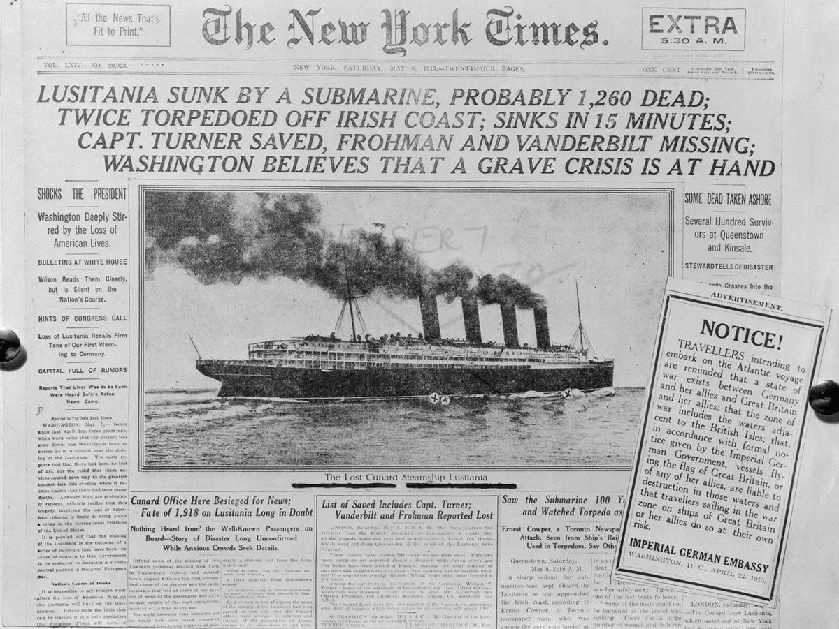 The front page of The New York Times after the sinking of the ocean liner Lusitania by a German submarine, along with a notice printed within from the German Embassy in the USA warning against trans-Atlantic travel. (Credit: Bettmann Archive/Getty Images)