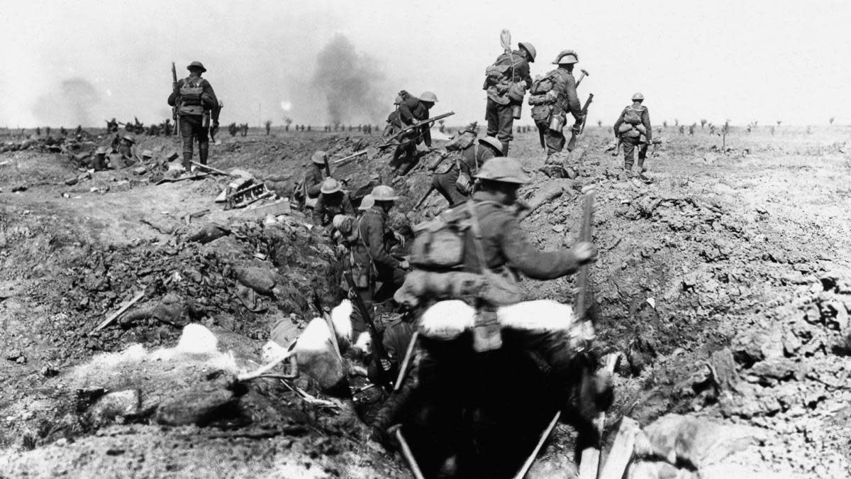 The Battle of Somme as seen from the trenches. (Credit: Photo12/UIG via Getty Images)