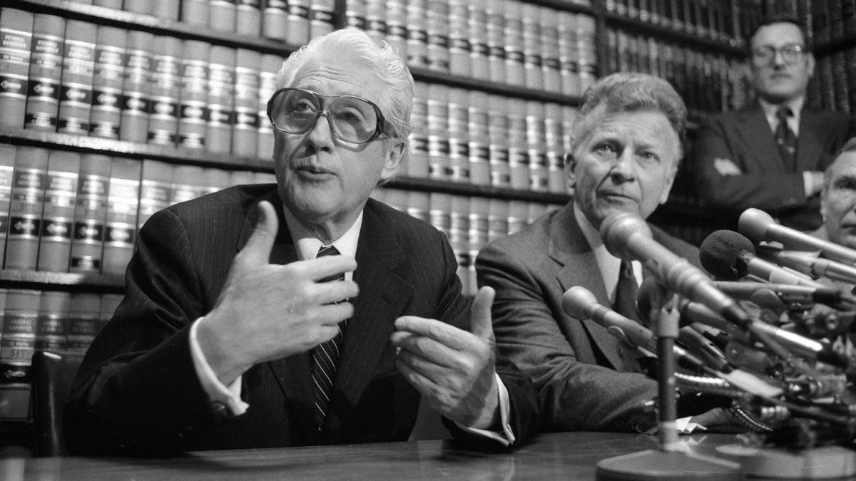 Former FBI officials, Mark Felt (left) and Edward S. Miller at a news conference in 1981. (Credit: Bob Daugherty/AP Photo)