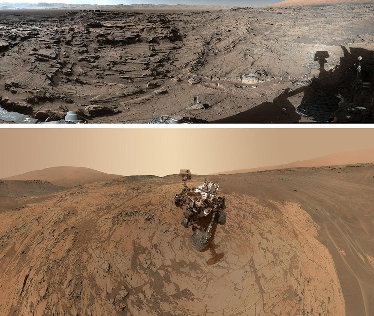 Views of Mars from the NASA's Curiosity Mars rover on April 4, 2016 and a selfie by the Curiosity rover taken January 2015. (Credit: NASA/JPL-Caltech/MSSS)