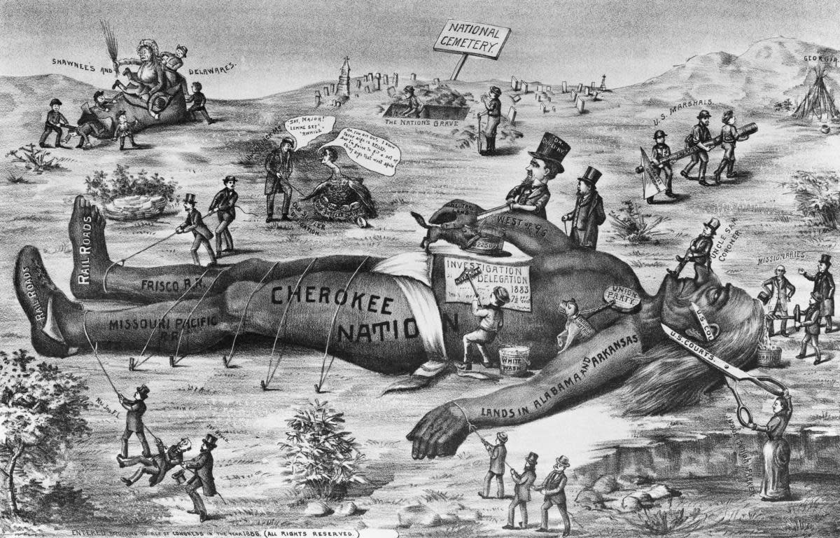 Late 19th-century political cartoon showing injustices and cruelty to Native Americans, including the Cherokee, Shawnee and Delaware nations, by American railroad companies, politicians, federal courts and others. (Credit: Bettmann Archives/Getty Images)