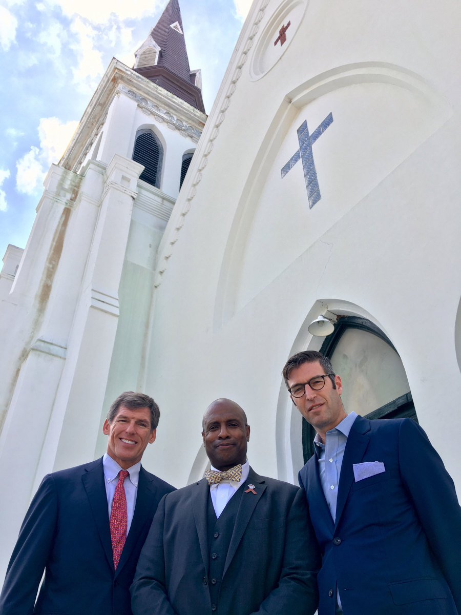 (L-R) John Darby, Rev. Eric SC Manning of Emanuel AME Church, and architect Michael Arad in front of Emanuel AME Church in Charleston, South Carolina. (Credit: The Beach Company)