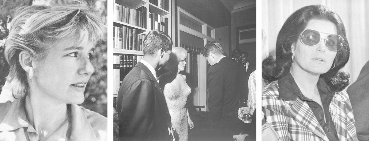 (L-R) Mary Pinchot Meyer, Robert and John F. Kennedy seen with Marilyn Monroe after she famously sang 'Happy Birthday' to JFK, and Judith Campbell Exner.