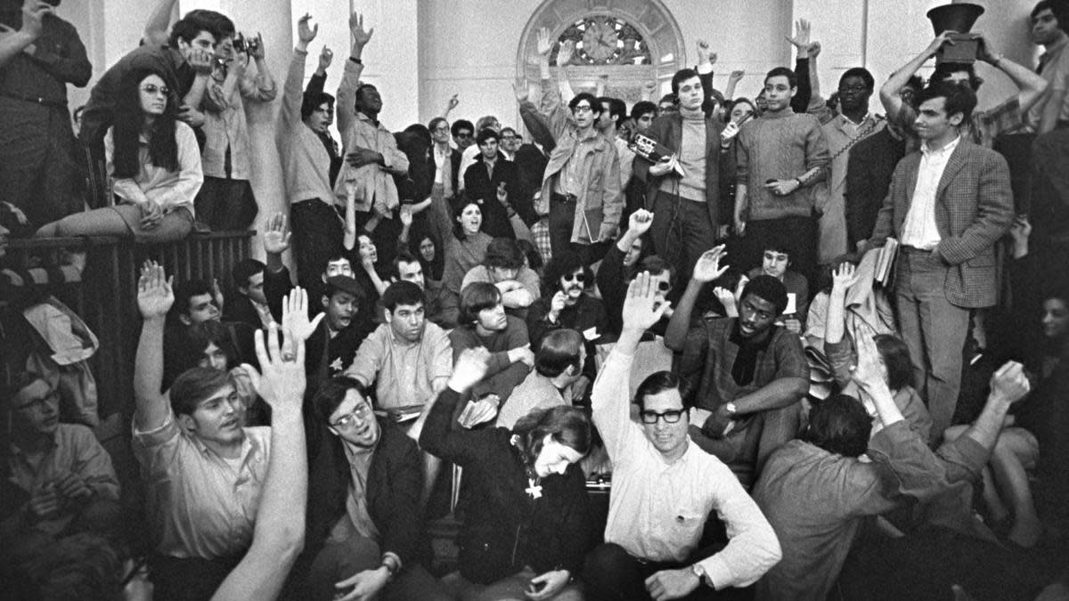 Students in Hamilton Hall at Columbia University on April 23, 1968. That night, African-American students asked white students to leave and seize other buildings, so they could keep a separate protest. (Photo: Don Hogan Charles/The New York Times/Redux)