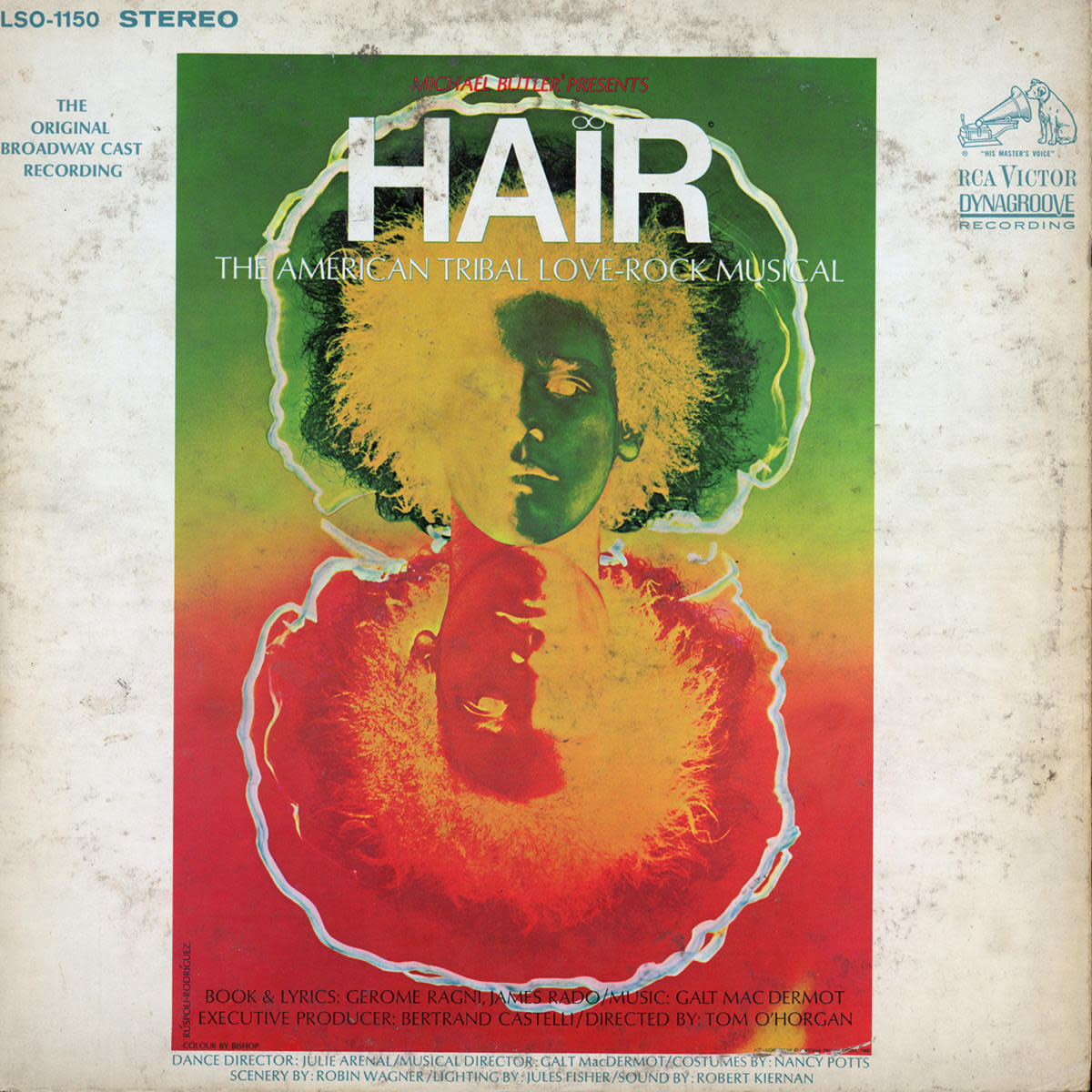 View of the cover of the original Broadway cast recording of the musical 'Hair,' 1968. Published by RCA Victor Records. (Credit: Blank Archives/Getty Images)