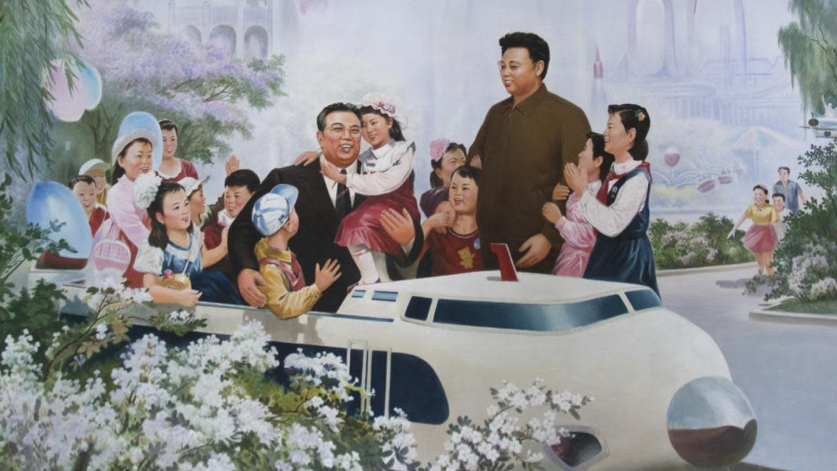 Kim Il Sung and Kim Jong Il featured in a propaganda poster, 2010. (Credit: Eric Lafforgue/Gamma-Rapho/Getty Images)