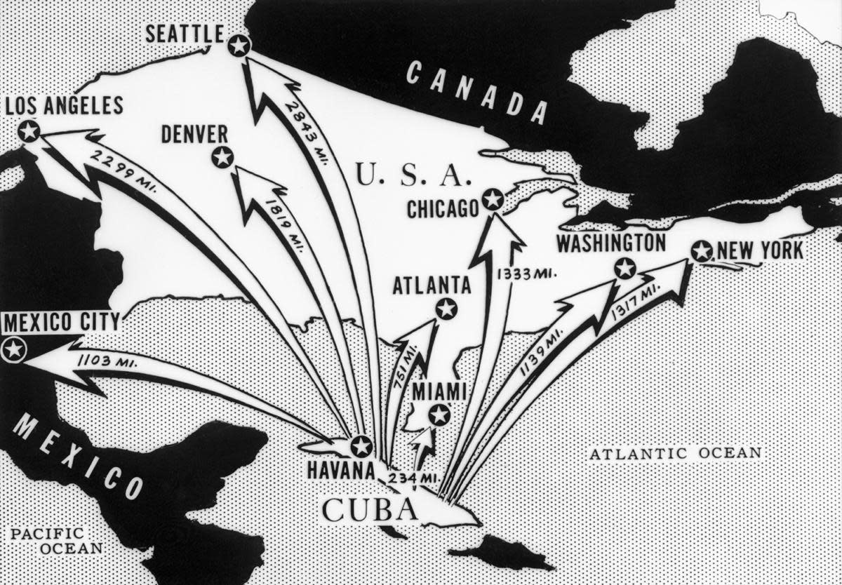 This newspaper map from the time of the Cuban Missile Crisis shows the distances from Cuba of various cities on the North American Continent. (Credit: Bettmann Archive/Getty Images)