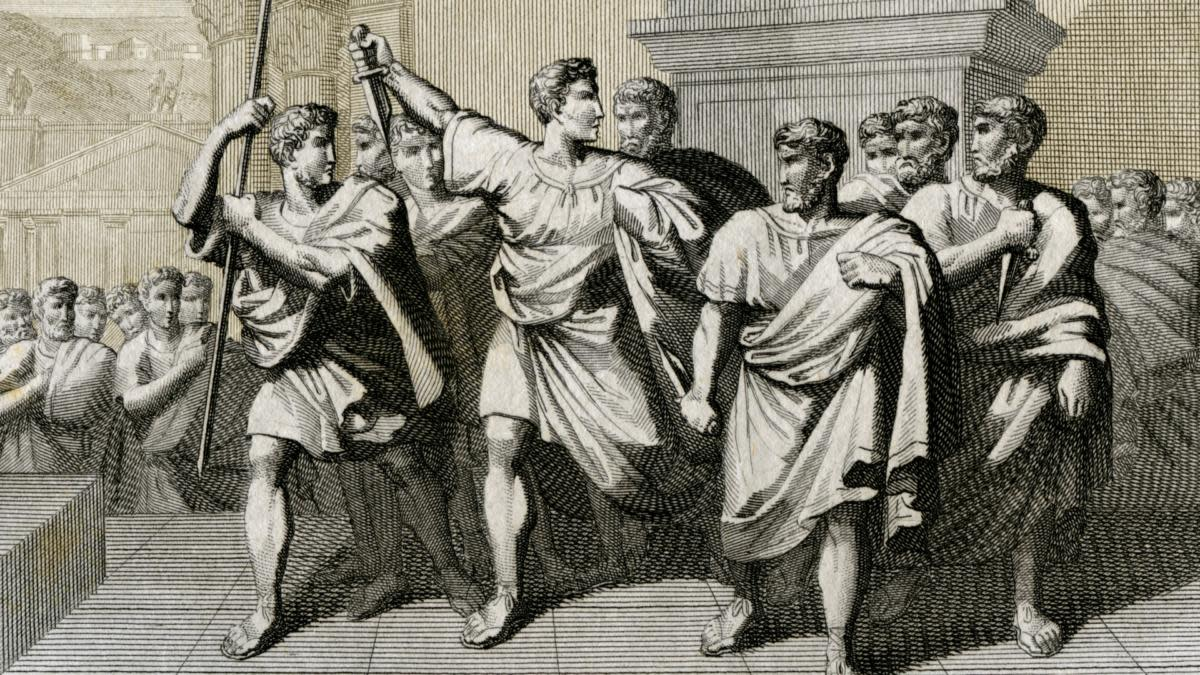 Brutus and other conspirators after killing Julius Caesar. (Credit: Fototeca Gilardi/Getty Images)