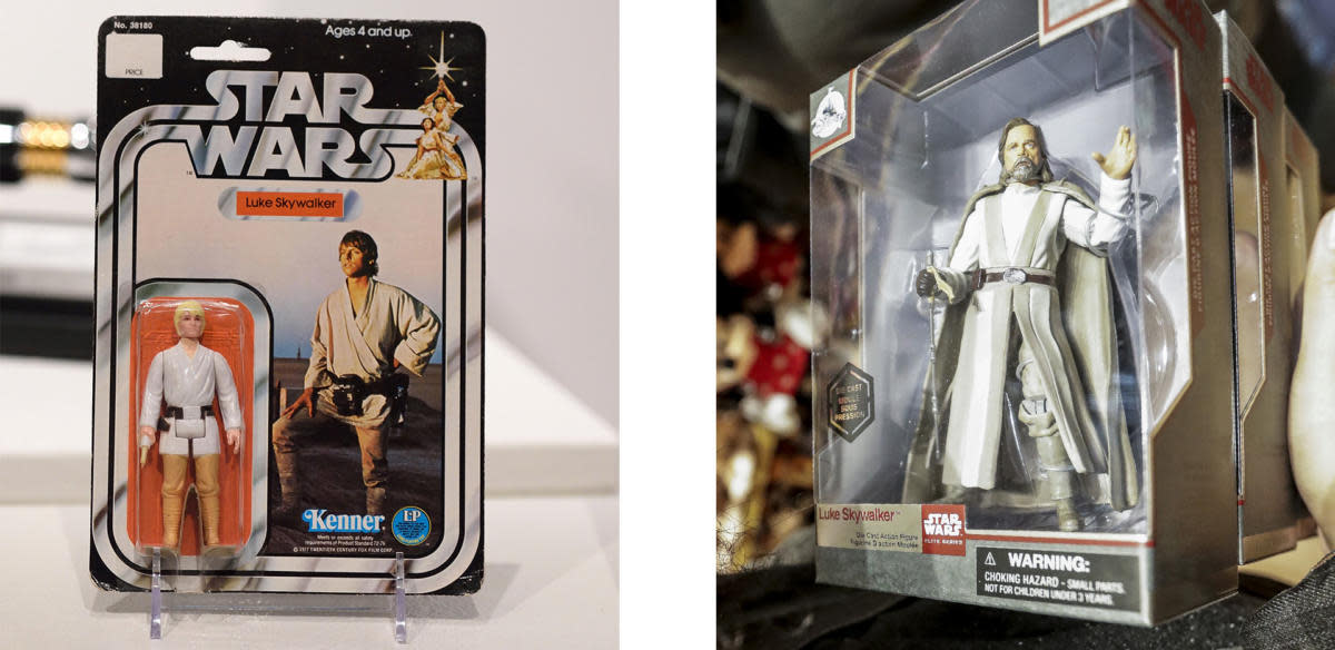 1970s Luke Skywalker action figure and Luke Skywalker, from Star Wars: The Last Jedi