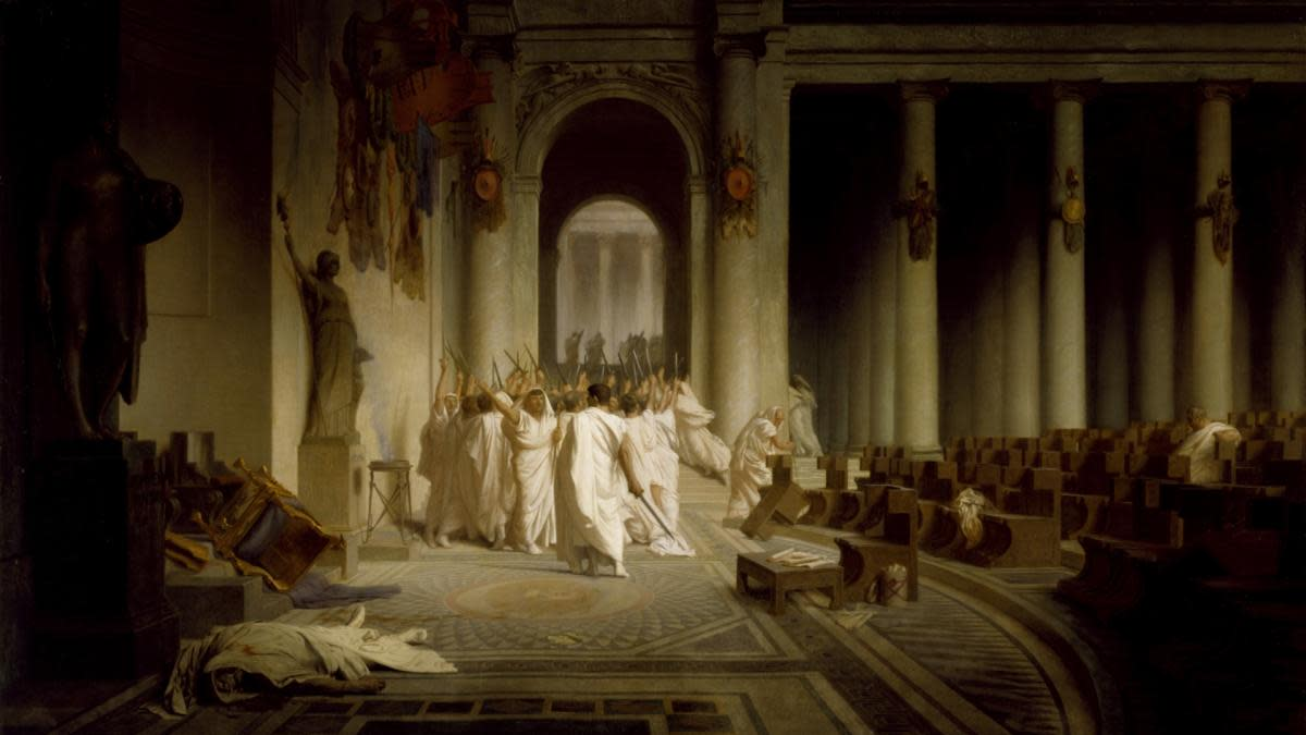 The Death of Caesar, painted by  Jean-Léon Gerome. (Credit: Fine Art Images/Heritage Images/Getty Images)