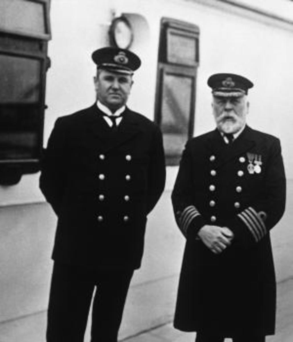 Purser Hugh Walter McElroy and Captain Edward J. Smith aboard the Titanic during the run from Southampton to Queenstown, England. The man who took the photograph, F.M. Browne, got off at Queenstown, three days before the ship hit an iceberg and sank. (Credit: Ralph White/Corbis via Getty Images)