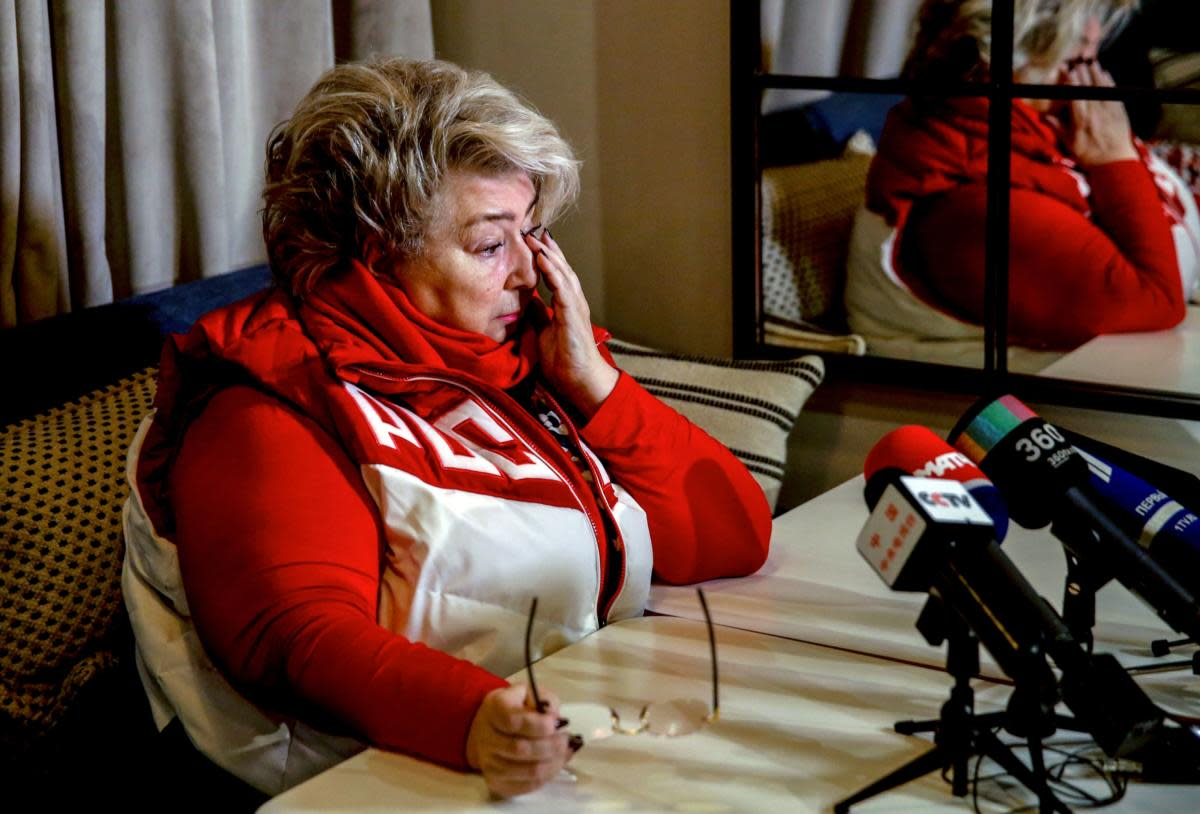 "Figure skating coach Tatiana Tarasova speaks to the media on December 5, 2017 in Moscow, after the International Olympic Committee announced the decision to ban Russia from 2018 Winter Olympics. Russia were banned from the 2018 Olympics on December 5, 2017 over state-sponsored doping but the International Olympic Committee said Russian competitors would be able to compete ""under strict conditions"". / AFP PHOTO / Maxim ZMEYEV        (Photo credit should read MAXIM ZMEYEV/AFP/Getty Images)"