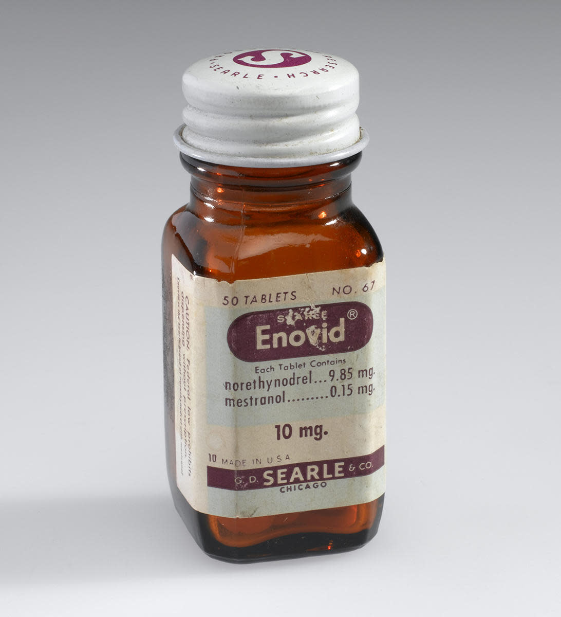A bottle of Enovid tabs from the early 1960s. (Credit: Science Museum/SSPL/Getty Images)