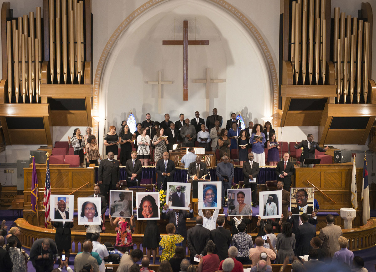 A prayer vigil at the Metropolitan African Methodist Episcopal Church in Washington, D.C. on June 19, 2015 after the shooting that killed nine people at Emanuel AME Church in Charleston, South Carolina. (Credit: Linda Davidson/The Washington Post/Getty Images)