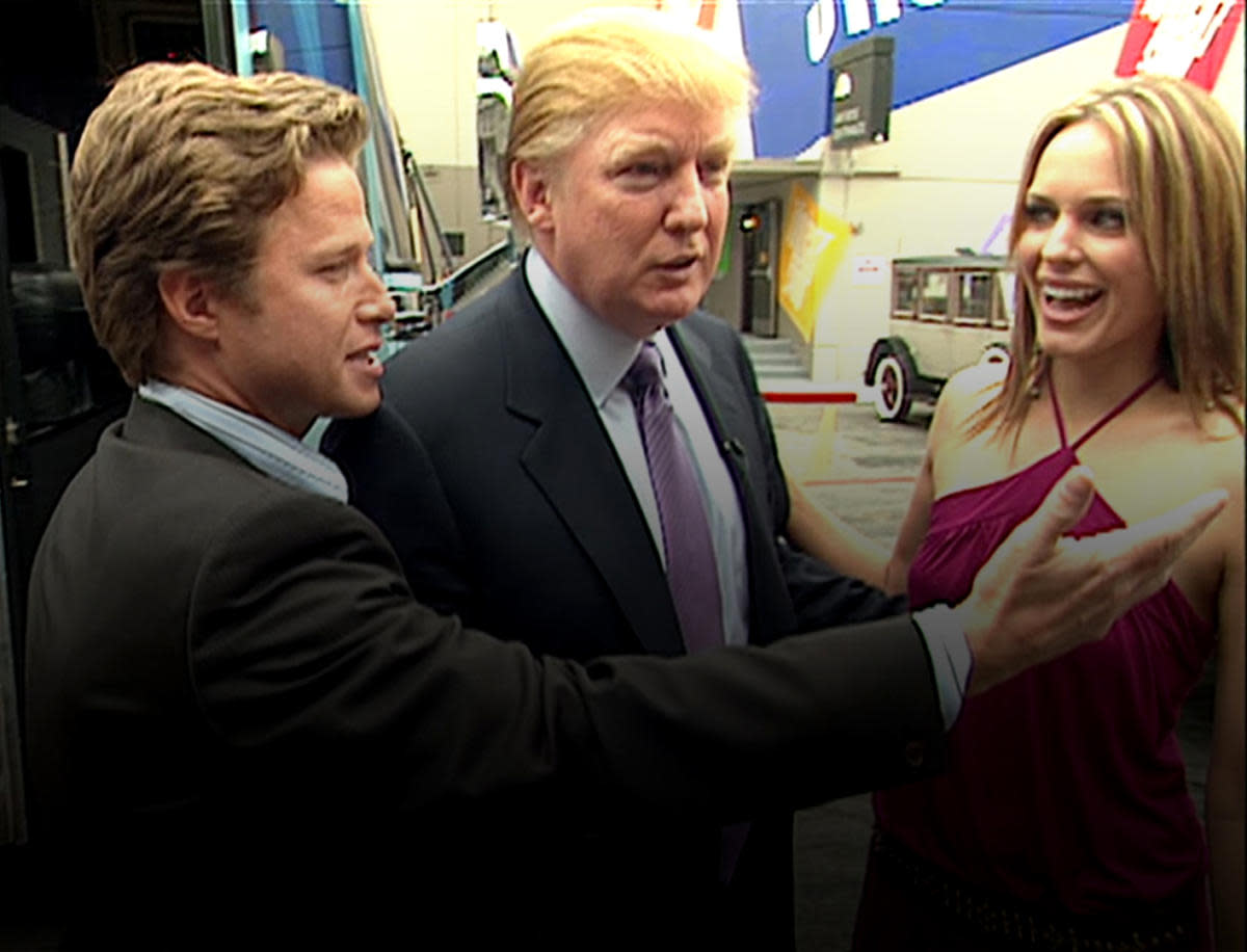 A still from the 2005 video featuring Donald Trump with Access Hollywood host Billy Bush, and 'Days of Our Lives' with actress Arianne Zucker, which revealed the now-infamous 'grab them by the pussy' comment.