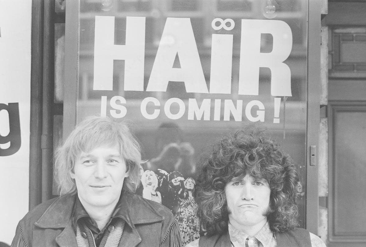 American actor, playwright, director, and composer James Rado with 'Hair' co-author, American actor and singer-songwriter Gerome Ragni, 1968. (Credit: Larry Ellis/Daily Express/Getty Images)