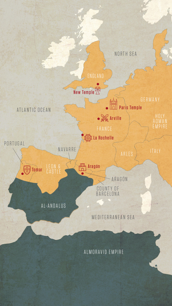 Map Top Templar Sites In Western Europe History