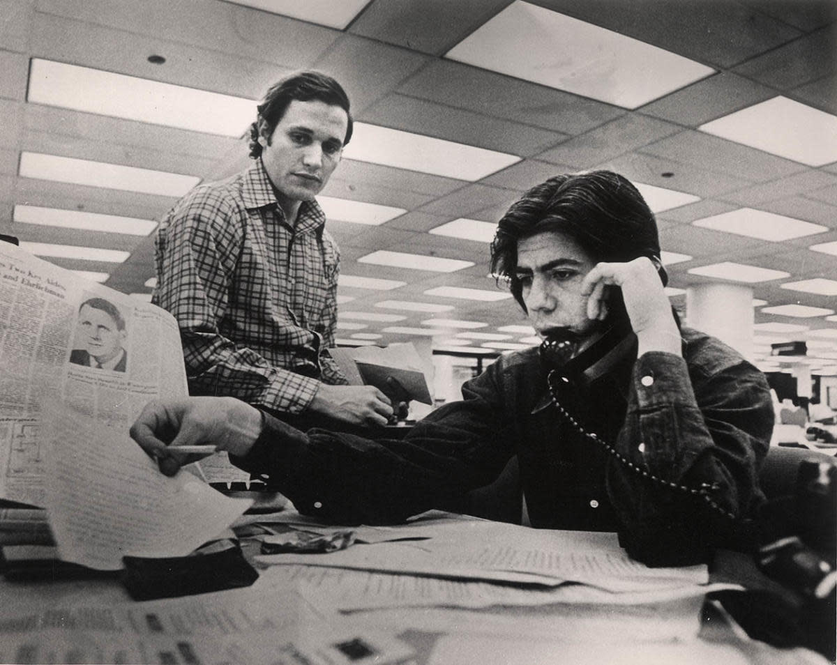 Bob Woodward (left) and Carl Bernstein in the Washington Post newsroom. (Credit: Ken Feil/The Washington Post/Getty Images)