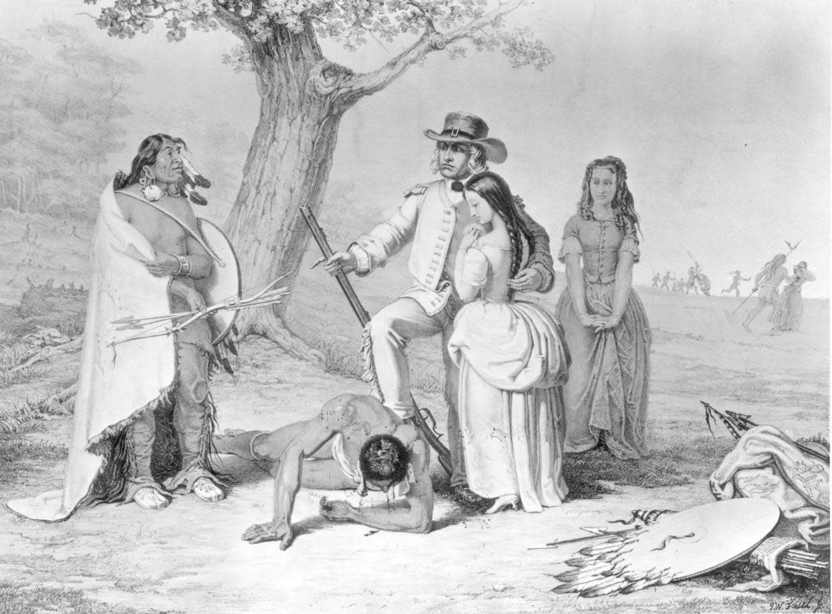 Daniel Boone rescuing his daughter Jemima from the Shawnee, after she and two other girls were abducted from near their settlement of Boonesboro, Kentucky. (Credit: MPI/Getty Images)