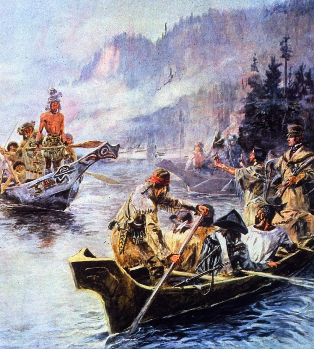 Sacajawea interpreting Lewis and Clark's intentions to the Chinook Indians. (Credit: MPI/Getty Images)