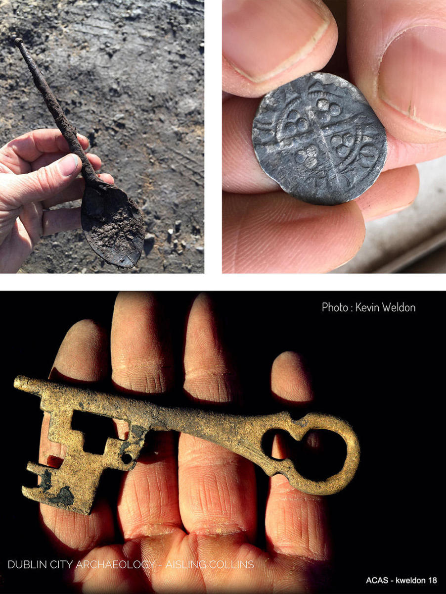 A wooden spoon, a silver coin, and a copper alloy key found at the excavation site. (Credit: ACAS-Aisling Collins Archaeology Services)