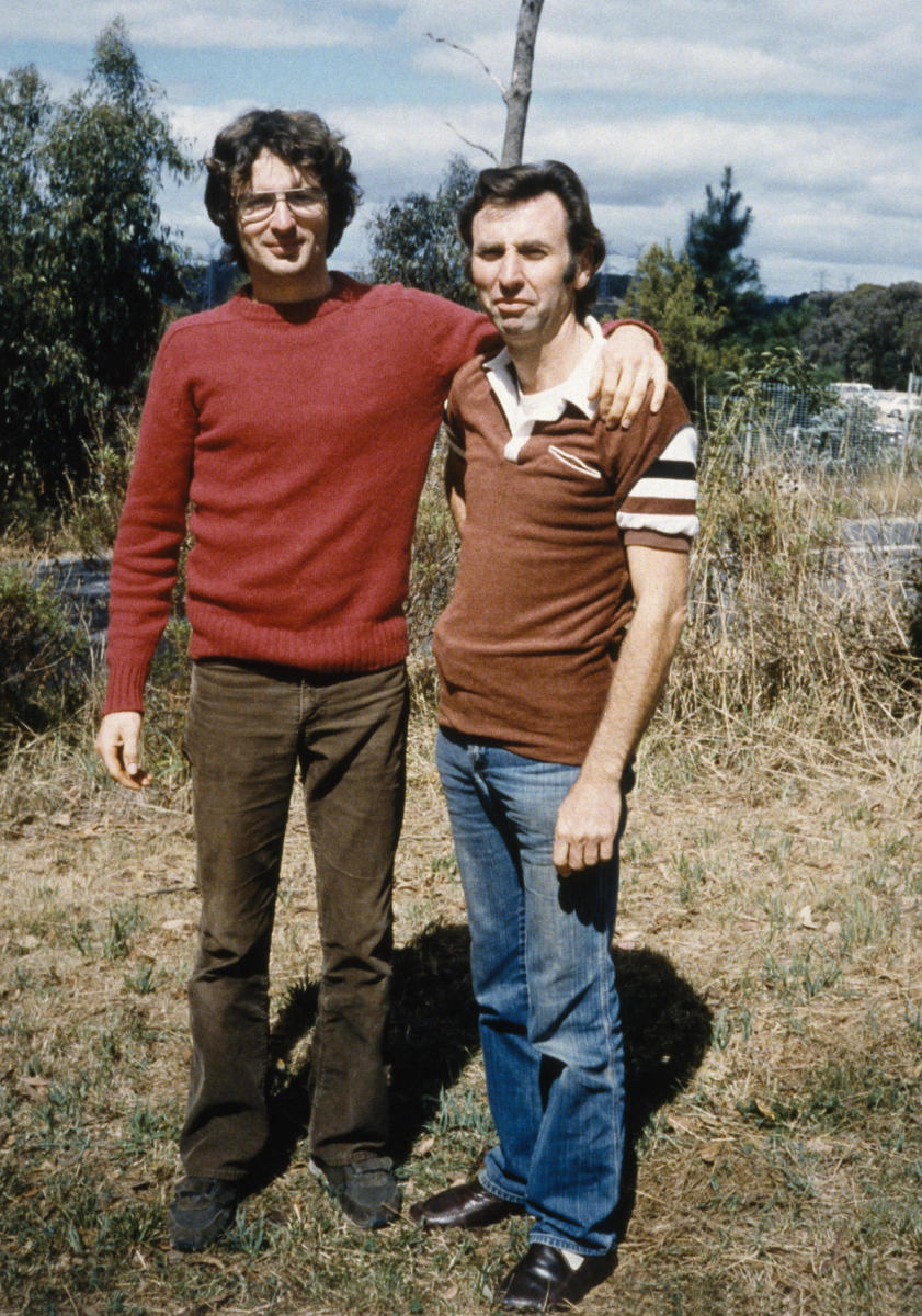 Branch Davidian founder David Koresh (left), accompanied by Clive Doyle, during his first visit to Australia to recruit members. (Credit: Elizabeth Baranyai/Sygma via Getty Images)