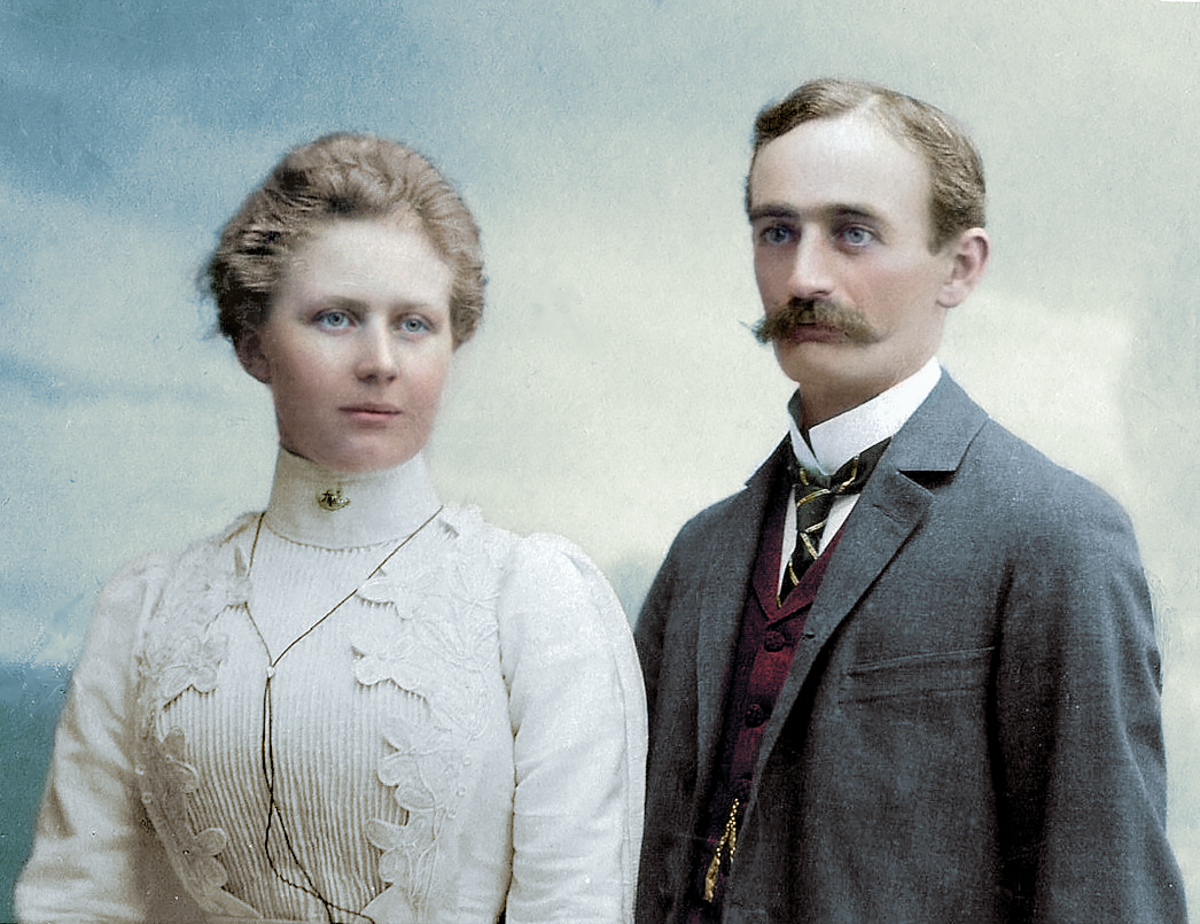 Friedrich and Elisabeth Trump, colorized by Marina Amaral. (Credit: Public Domain)