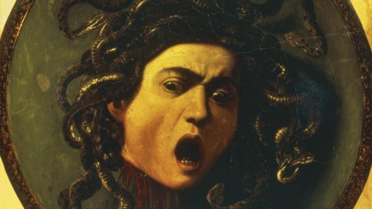 Medusa, 1597 by Caravaggio. Da Vinci's painting, Medusa Shield, was lost.